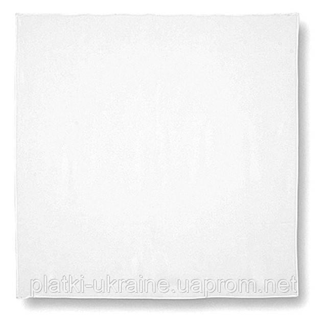"""Павлопосадский платок шелковый """"Белый"""" без рисунка (крепдешин) размер 89х89 см"""