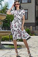 ✔️ Летнее платье с цветочным принтом 44-50 размера белое, фото 1