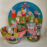 Набор детской стеклянной посуды 3в1, фото 2