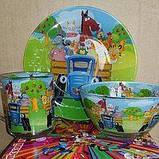 Набор детской стеклянной посуды 3в1, фото 6