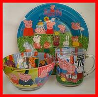Набор детской стеклянной посуды 3в1, фото 1
