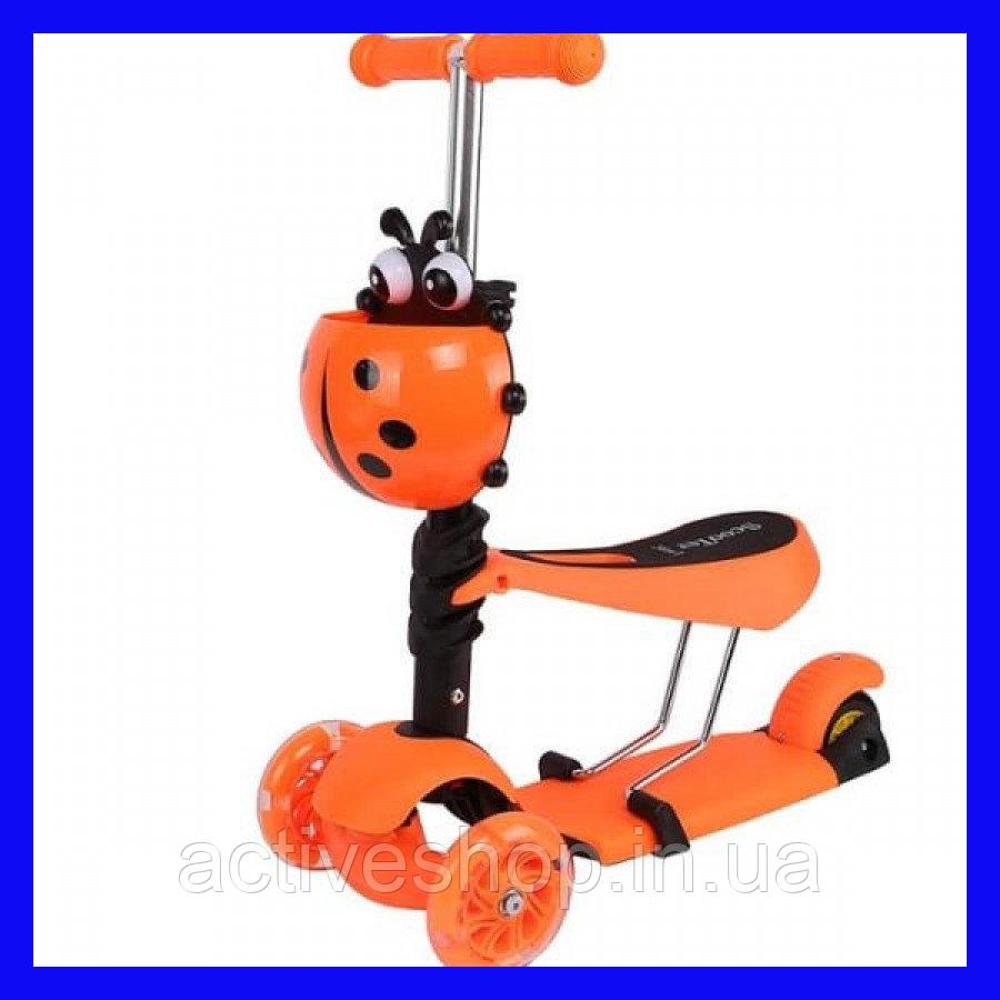 Самокат беговелScooter 3в1 с сидением и корзинкой