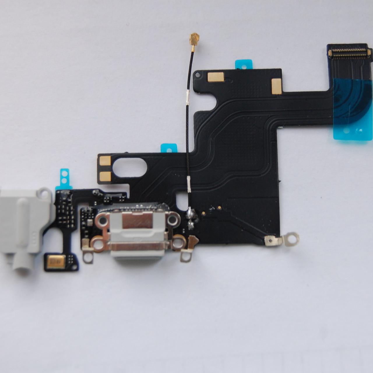 Шлейф Apple iPhone 6 коннектора зарядки,коннектора наушников с компонентами gray