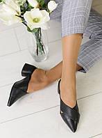 Женские шлепанцы на каблуке, материал - натуральная кожа, FS-5608. Черный