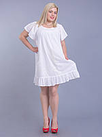 Платье белое с белой вышивкой, 54-64 р-ры, фото 1