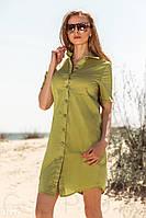Короткое платье рубашка прямого кроя горчичное