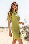 Короткое платье рубашка прямого кроя горчичное, фото 2