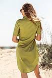 Короткое платье рубашка прямого кроя горчичное, фото 3