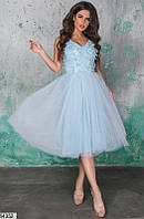 Нарядное платье до колен с пышной юбкой открытая спинка без рукав голубое