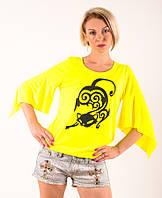Женская футболка  желтая ручная роспись Кошка  размеры 40-46