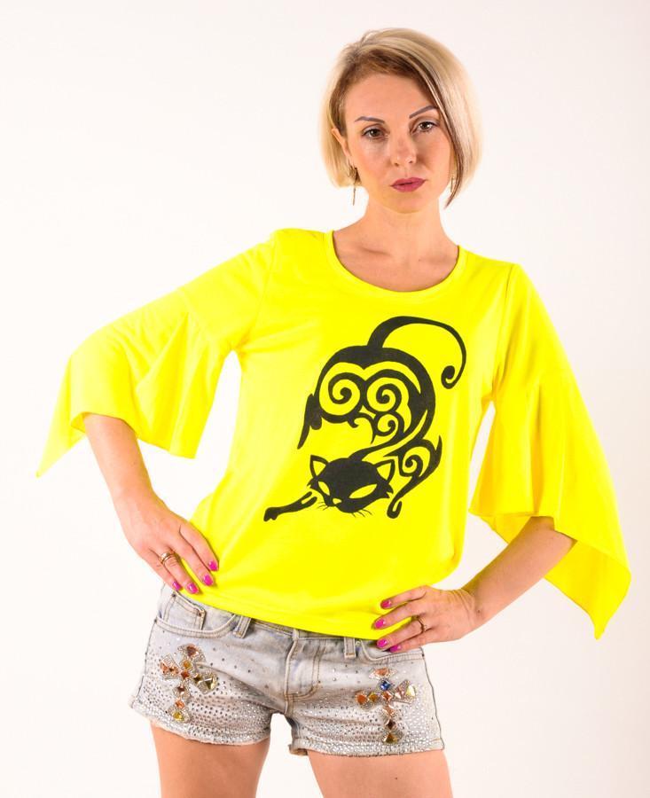Женская футболка  трикотажная желтая ручная роспись Кошка  размеры 40-44
