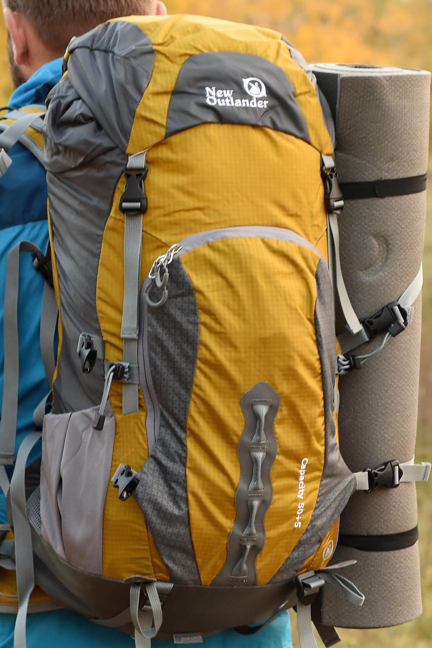 Рюкзак для туризма с ортопедической спинкой 55 литров New Outlander желтый (AV 1212)