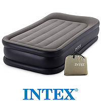 Надувная кровать-матрас Intex 64136  двухместный  с подголовником, встроенный насос 220V, размер 203х152х42см