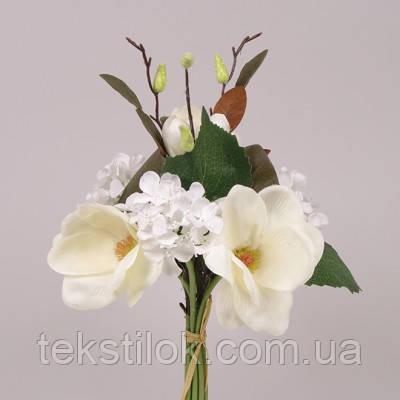 Букет Мікс кремово-білий магнолії+гортензії штучні Квіти