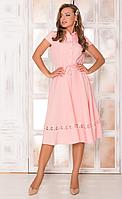 Приталенное платье с кружевом и юбкой полусолнце