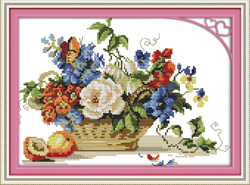 Цветы в корзине J185. Набор для вышивки крестом с печатью на ткани 14ст