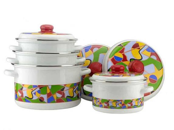 Набор эмалированной посуды Эмаль Абстракция 4 предмета, фото 2