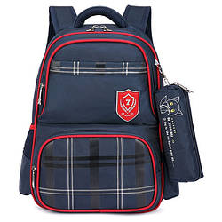 """Школьный рюкзак """"Лисенок"""" с сумочкой для карандашей на карабине, влагозащищенный, 18л Синий"""