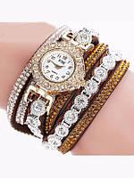 Коричневые наручные женские часы с браслетом