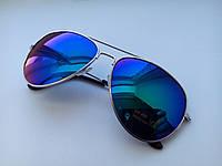 Солнцезащитные очки Авиаторы, серебристая оправа, линзы сине-зеленого цвета, фото 1