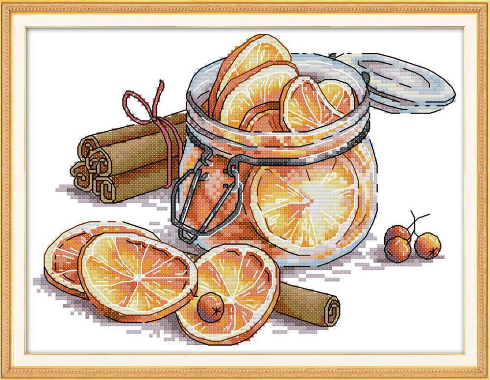 Корица и лимон J436. Набор для вышивки крестом с печатью на ткани 14ст