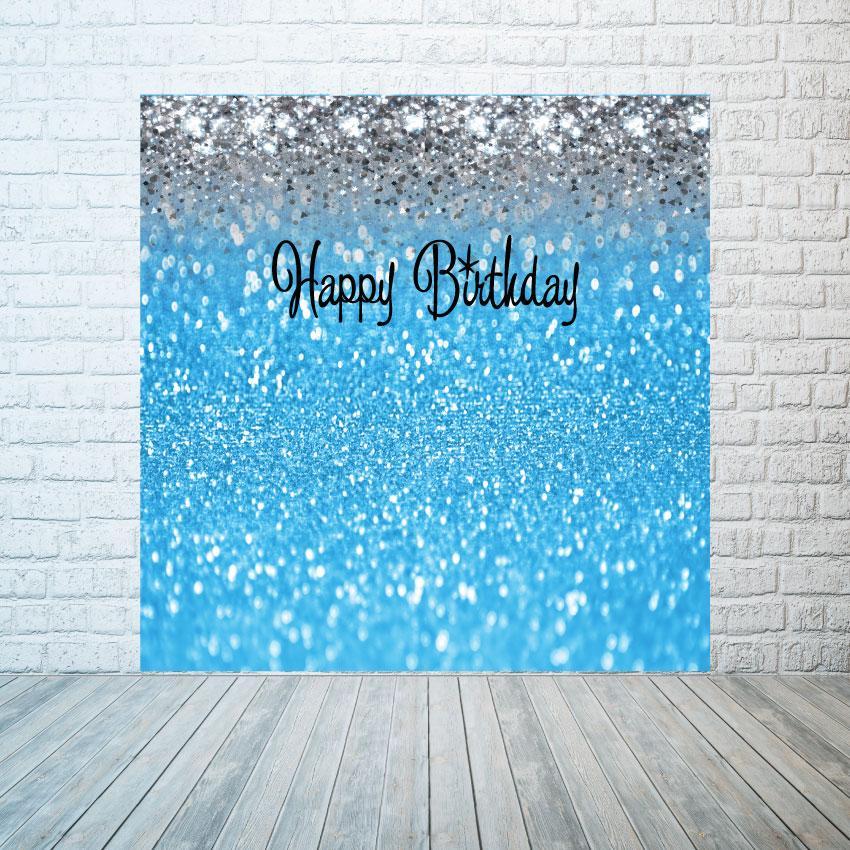 Баннер голубые блестки с серебром,  размер на выбор