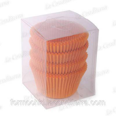 Оранжевые формы для кексов 140-ПУ (Ø55, h - 42,5 мм), 100 шт.