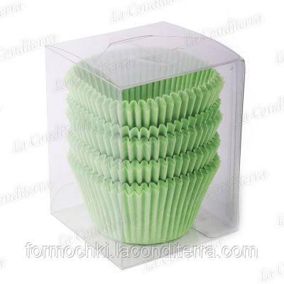Зеленые формы для кексов 140-ПУ (Ø55, h - 42,5 мм), 100 шт.