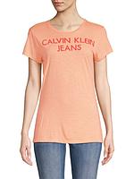 Женская оригинальная персиковая футболка с принтом Calvin Klein Jeans