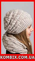 Комплект из шапочки и шарфа-петли | цвет - серый, фото 1