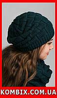 Комплект из шапочки и шарфа-петли | цвет - темно-синий, темно-зеленый, фото 1