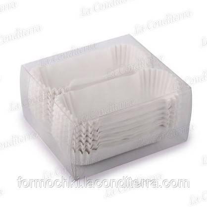 Паперові форми для тістечок, цукерок OV10-ПУ (довжина дна - 10 см), білі, 150 шт.