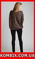 Свободное вязаное пончо с люрексной нитью | цвет - коричневый, фото 1