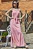 ✔️ Длинный сарафан на бретелях 42-48 размера розовый  в горох