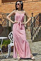✔️ Длинный сарафан на бретелях 42-48 размера розовый  в горох, фото 1