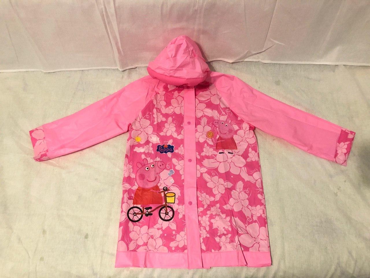 Дождевик детский с надувным капюшоном Свинка Пеппа S M L XL