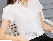 Женская белая блузка с коротким рукавом, шифон, полиэстер