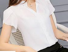 Жіноча біла блузка з коротким рукавом