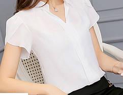 Женская белая блузка с коротким рукавом