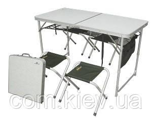 Стол алюминиевый складной + 4 стульчика из ПВХ в чехле Golden Catch 7334607