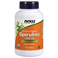 Спирулина NOW Spirulina 1000 mg certified organic 120 tabs