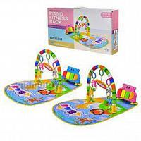 Коврик  пианино для младенца HE0612Веселый бегемотик, 2 цвета, музыка, игрушки 77х47х39 см