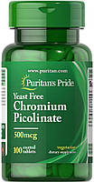 Хром Puritan's Pride Chromium Picolinate 500 mcg Yeast Free 100 tablets