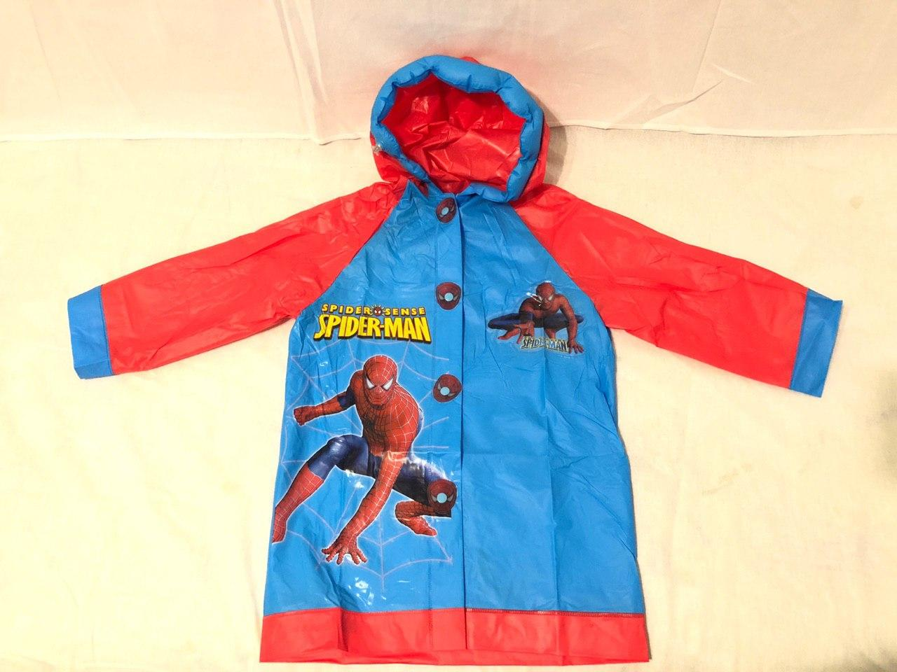 Дождевик детский с надувным капюшоном Человек-паук S M L XL