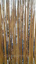 Серебристый дождик новогодний - высота 1метр, ширина 10см, ширина одной полосочки около 2ммм