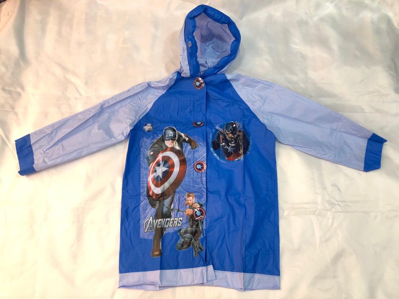 Дождевик детский с надувным капюшоном Капитан Америка  M L XL