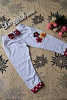"""Бриджи, капри на девочку белые нарядные """"Цветочки"""" 116-122 см.Турция!!"""