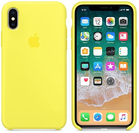 ✅ Чехол накладка xCase для iPhone XS Max Silicone Case лимонный, фото 2