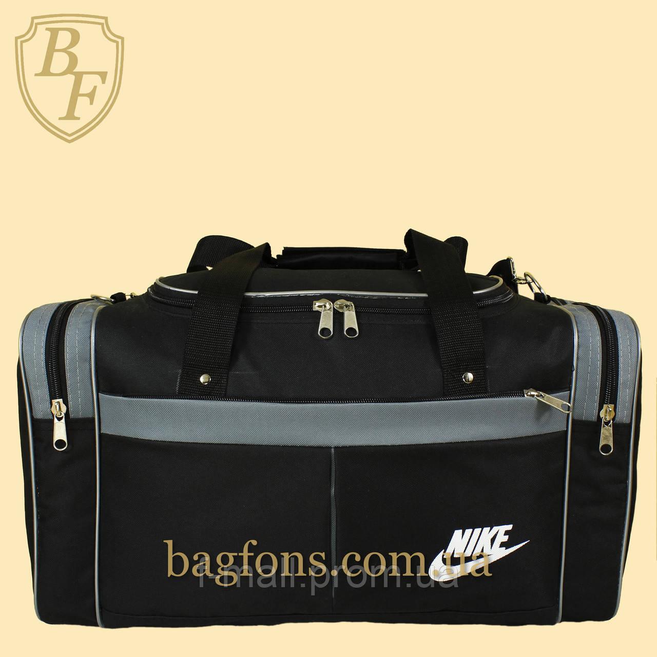 Дорожная спортивная сумка  NIKE черная с серым -15л.