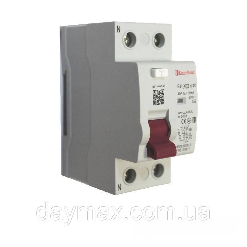 ElectroHouse ПЗВ 2P 40A 30mA 230-400V IP20